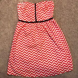 Red and White Chevron Strapless Dress